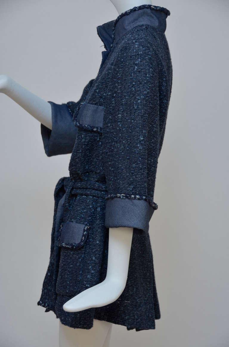 Chanel Tweed Jacket Blazer With Denim Trim 5