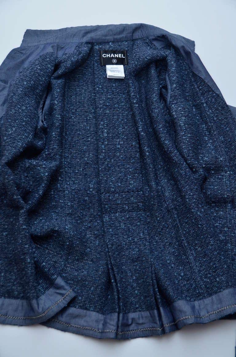 Chanel Tweed Jacket Blazer With Denim Trim 8
