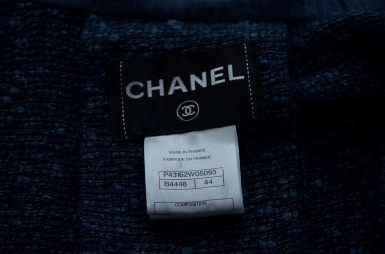 Chanel Tweed Jacket Blazer With Denim Trim 9