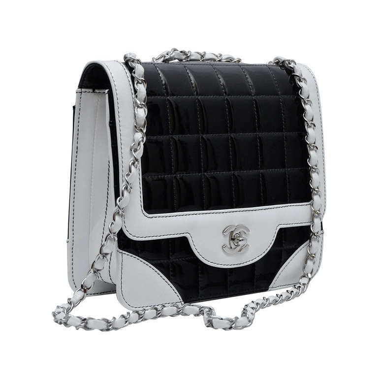 9cfd4c51b441ae Chanel Bi-Color Classic Flap Handbag Black Patent & White Leather Vintage  NEW For Sale