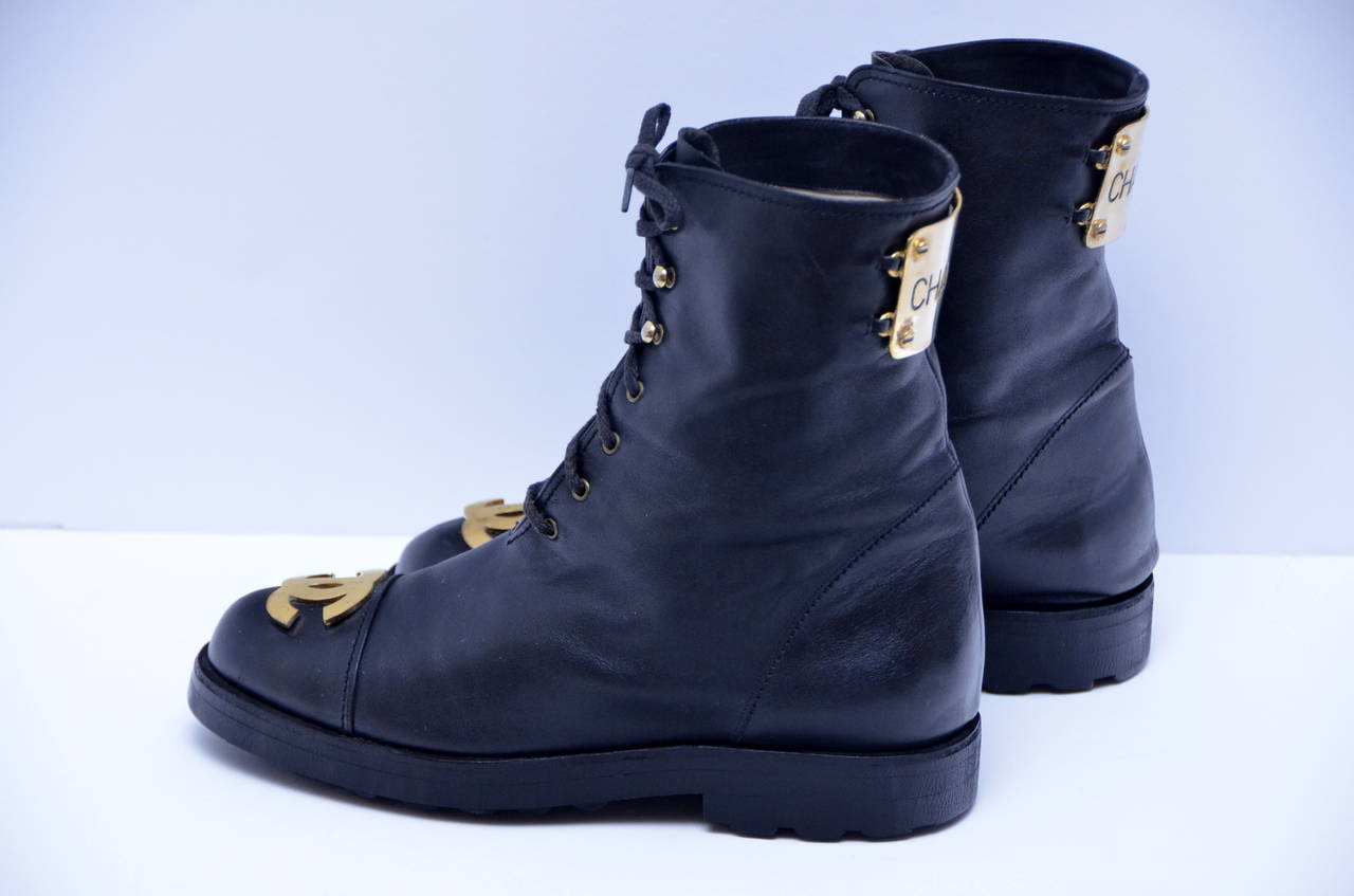 chanel boots. rare chanel vintage combat boots with gold-plated plaque 1990\u0027s 2 chanel e