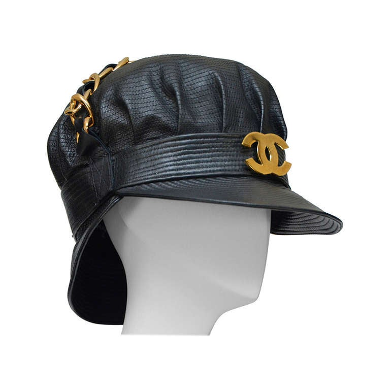 015e51e96 Rare Vintage Chanel Lambskin Leather Hat As Seen On Rihanna NEW