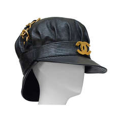 Rare Vintage Chanel Lambskin Leather Hat As Seen On Rihanna NEW