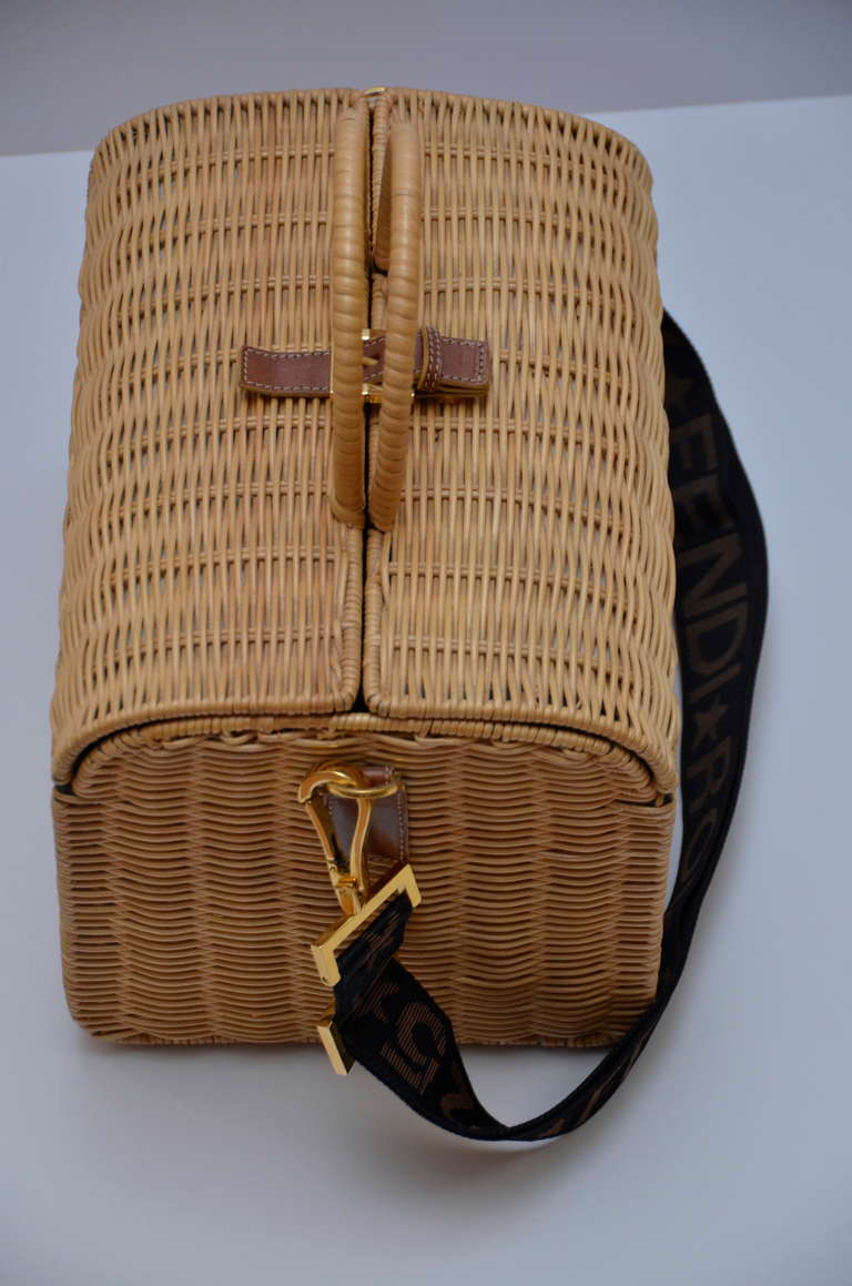 Fendi Straw Wicker Handbag With Leather Case NEW In New never worn Condition For Sale In Hollywood, FL