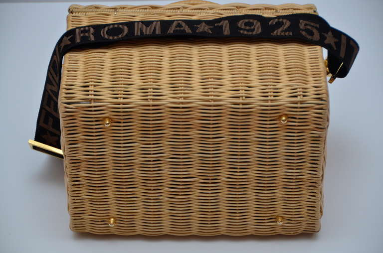 Brown Fendi Straw Wicker Handbag With Leather Case NEW For Sale