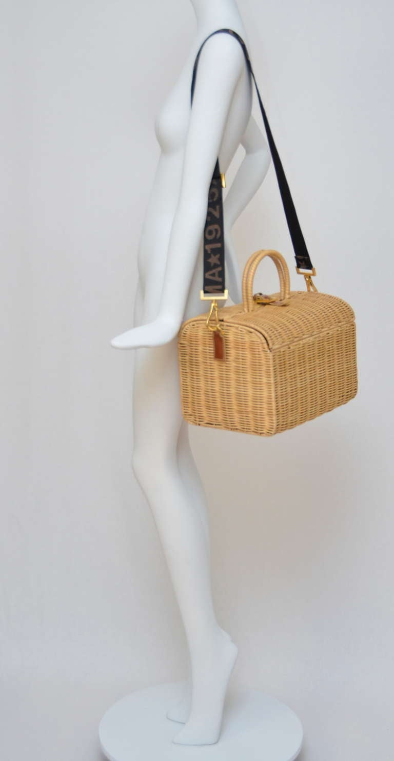 Fendi Straw Wicker Handbag With Leather Case NEW 6
