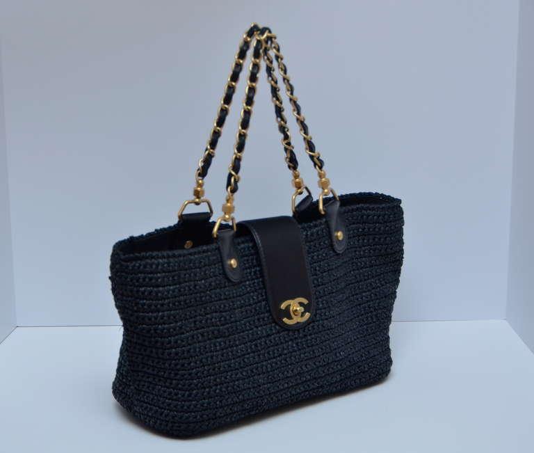 Chanel Straw Raffia Black Handbag Mint 2