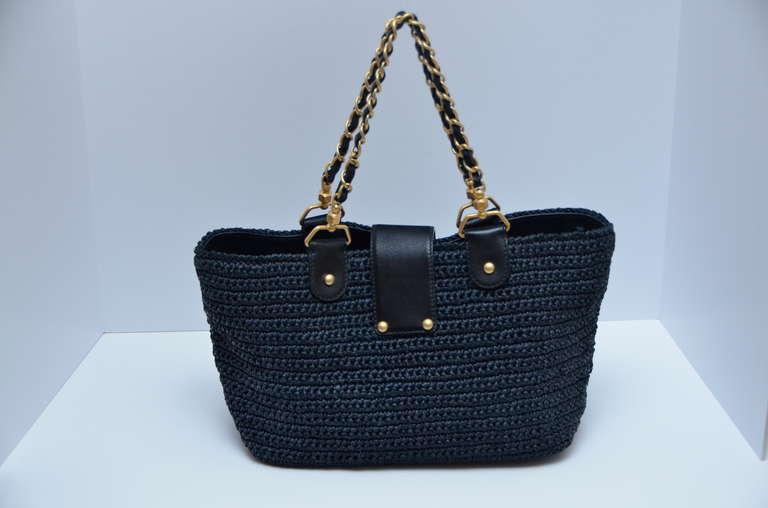 Chanel Straw Raffia Black Handbag Mint 3