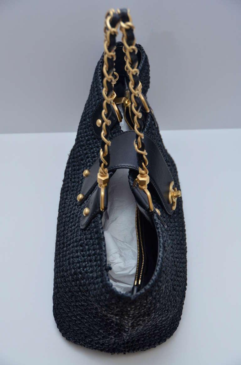 Chanel Straw Raffia Black Handbag Mint 4