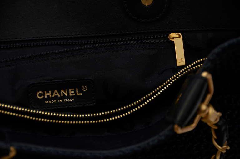 Chanel Straw Raffia Black Handbag Mint 6