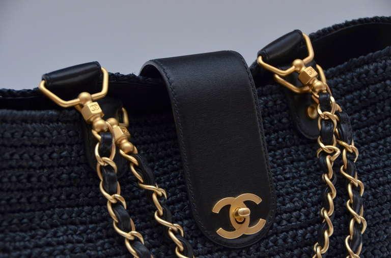 Chanel Straw Raffia Black Handbag Mint 7