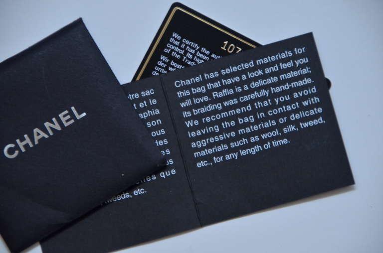 Chanel Straw Raffia Black Handbag Mint 8