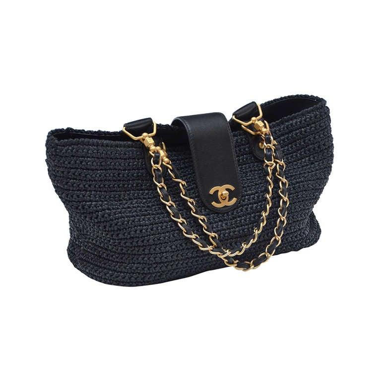 Chanel Straw Raffia Black Handbag Mint 1