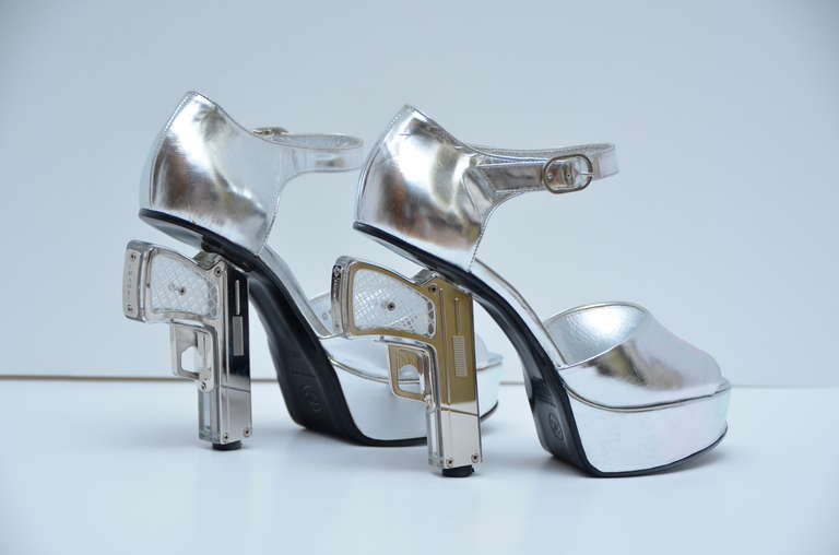 Rare Chanel Metallic Gun Shoes New at 1stdibs