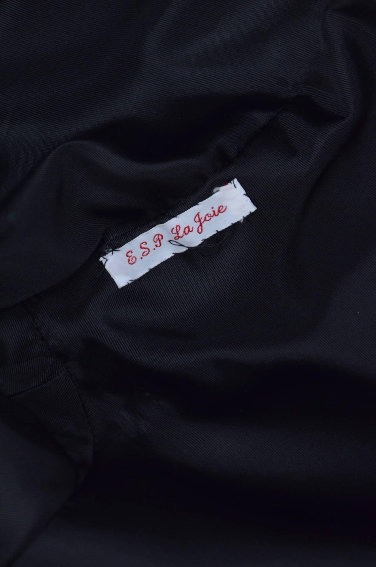 Oscar De La Renta Black  Pleated Swing Coat      1960's For Sale 2