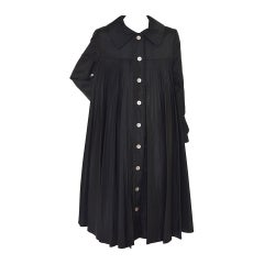 Oscar De La Renta Black  Pleated Swing Coat      1960's