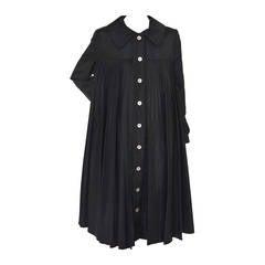Oscar De La Renta Black  Pleated Swing Coat      1960's