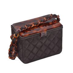 "Vintage CHANEL ""Box"" Suede Handbag With Tortoise Top Mint"