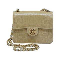 Chanel Shiny  MINI Nude/Beige  Classic CC Turn Lock Crocodile Handbag MINT