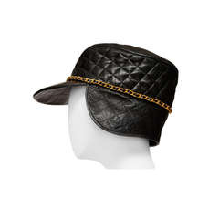 Chanel Lambskin Quilted  Leather Vintage Collectors Hat New '94