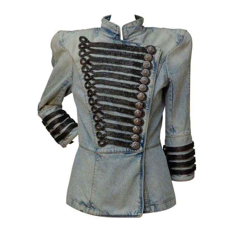 Rare Balmain Spring 2009 RTW Military Style Denim Jacket  New 38 FR 1