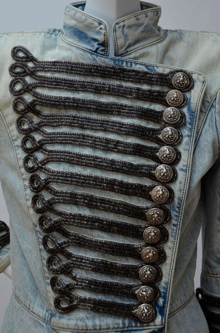 Rare Balmain Spring 2009 RTW Military Style Denim Jacket  New 38 FR 3