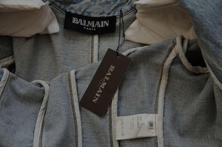 Rare Balmain Spring 2009 RTW Military Style Denim Jacket  New 38 FR 8