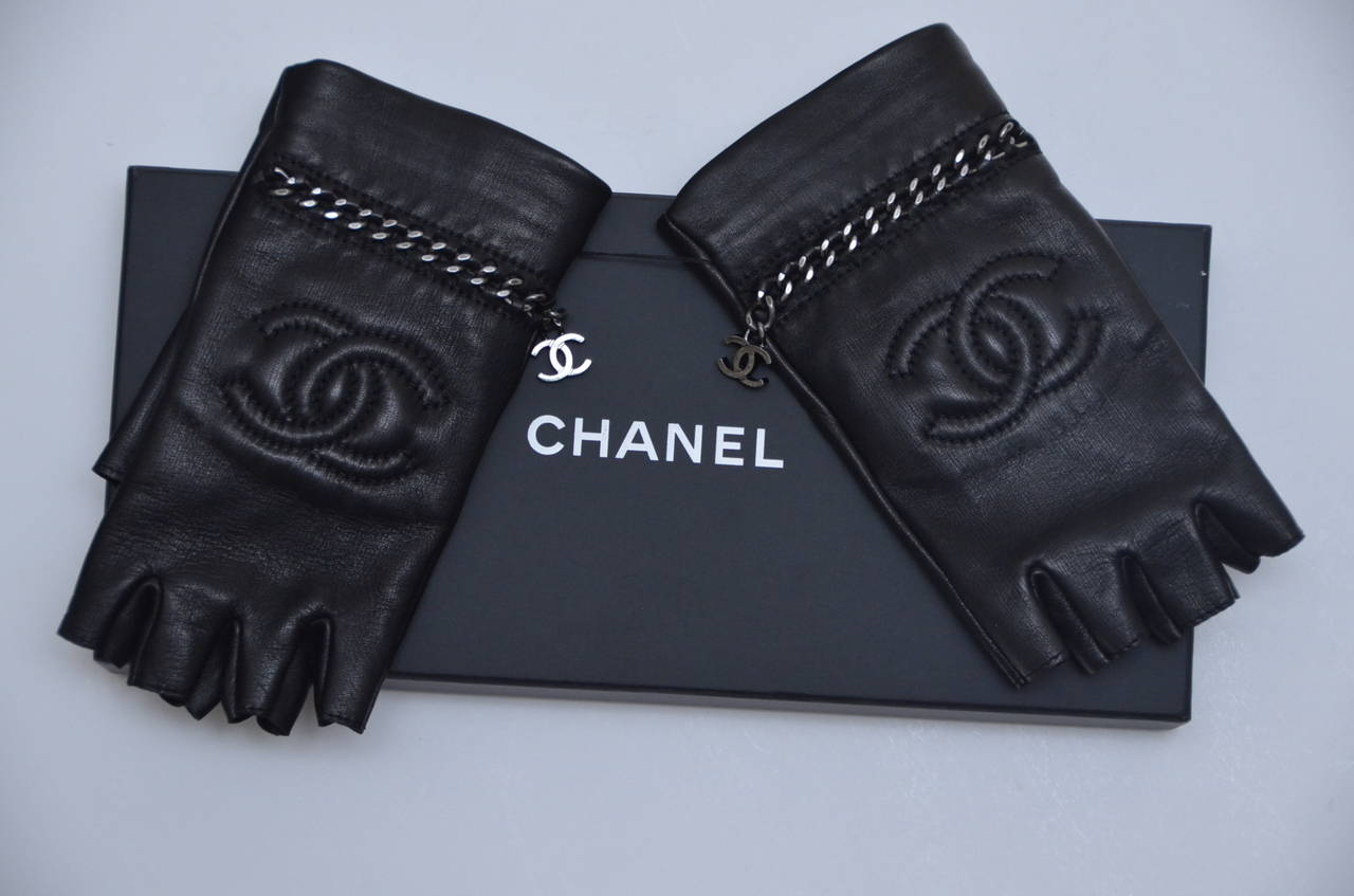 Chanel New Black Lambskin Fingerless Gloves For Sale At