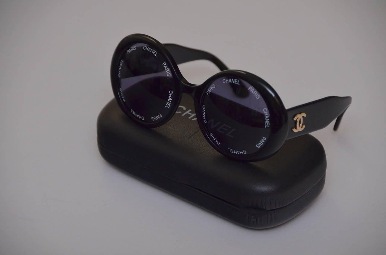 "Chanel Vintage Rare  ""CHANEL PARIS"" Sunglasses As Seen On Rihana  MINT 9"