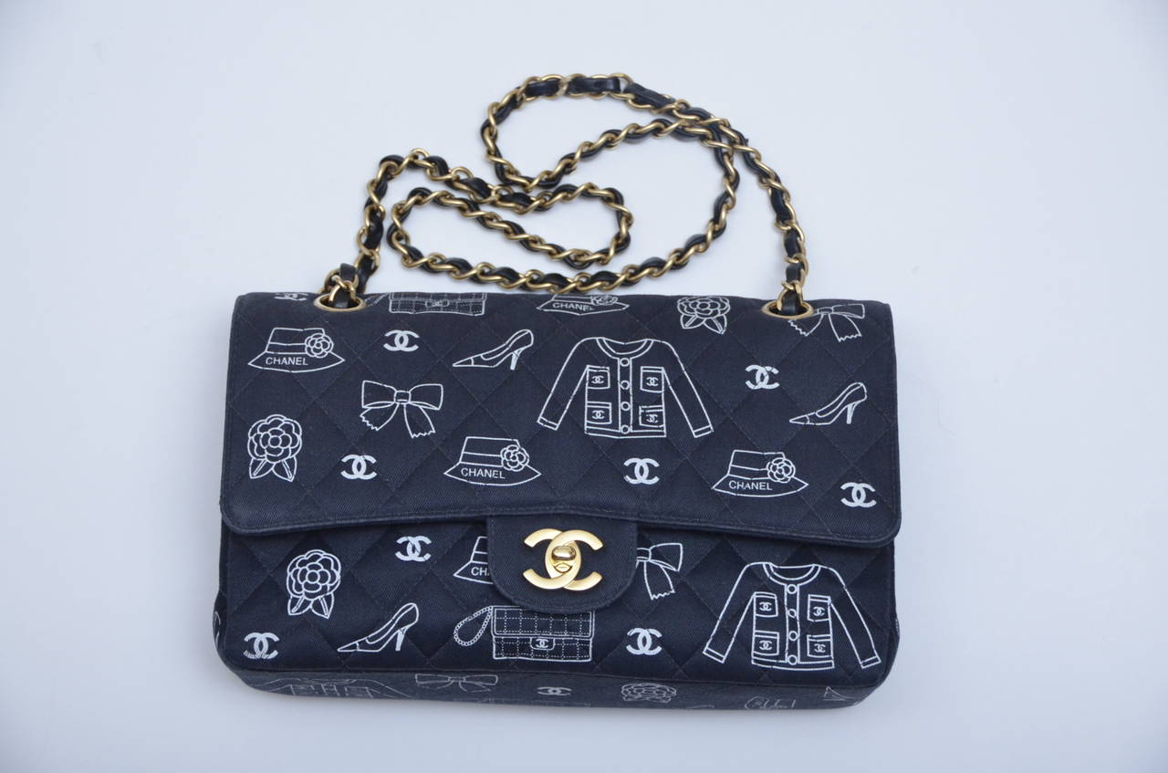 Chanel Iconic Symbols Double Flap Handbag In Excellent Condition For Sale In  Hollywood, FL d29f32a23c