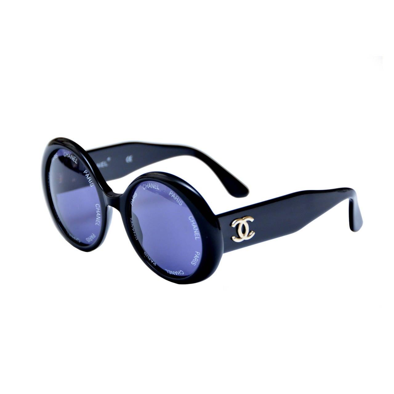 "Chanel Vintage Rare  ""CHANEL PARIS"" Sunglasses As Seen On Rihana  MINT 1"