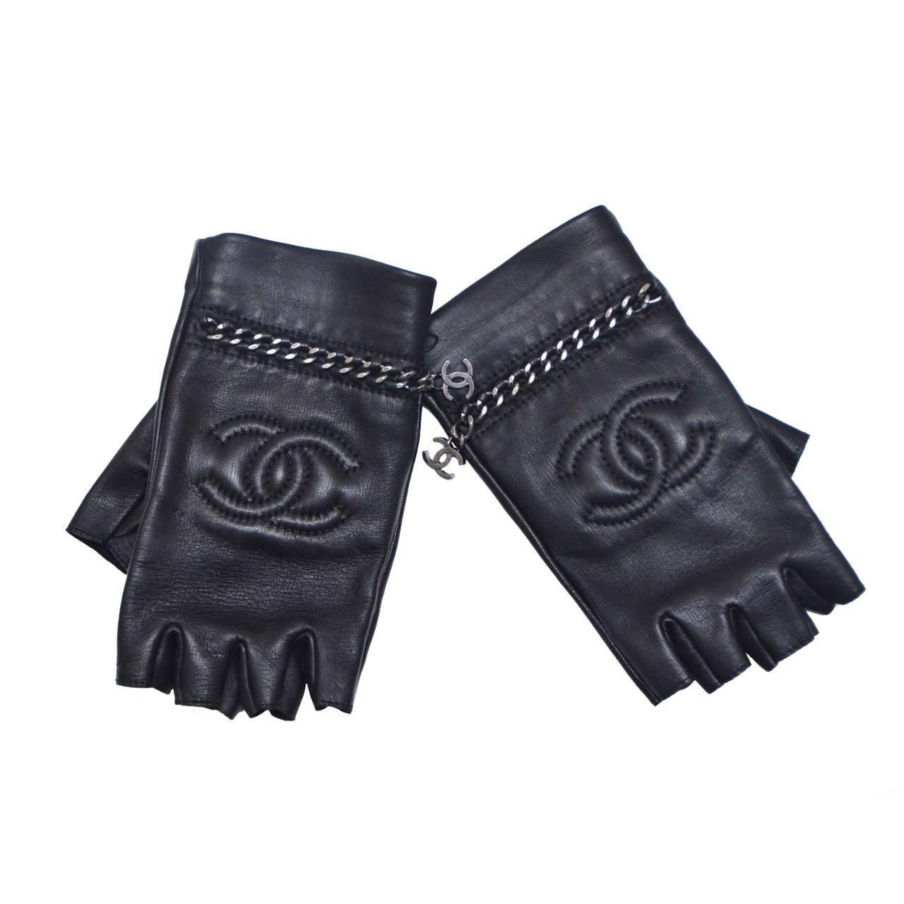 chanel new black lambskin fingerless gloves at 1stdibs