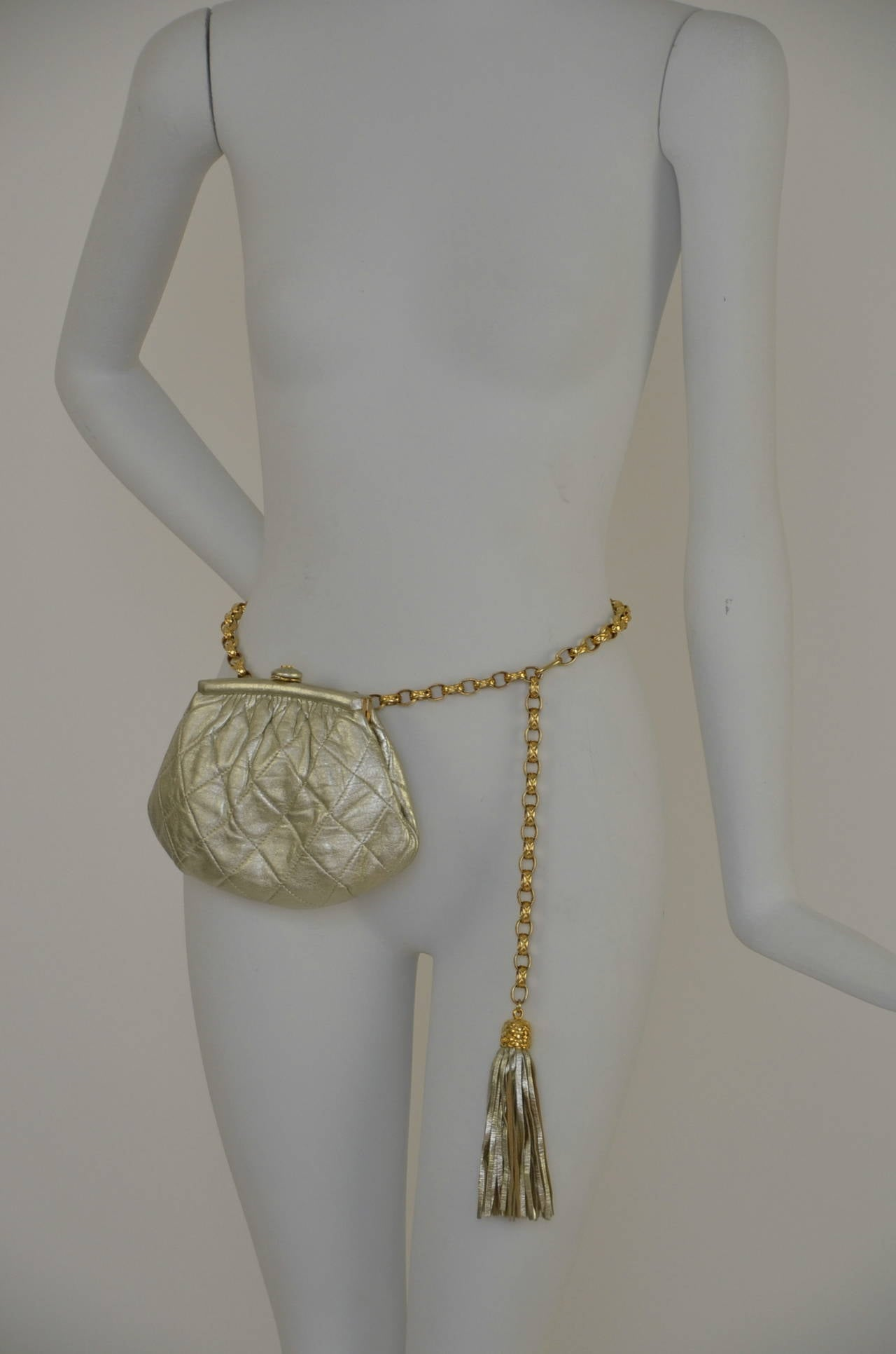 Chanel Vintage Waist Evening  Bag Clutch With Tassel For Sale 2