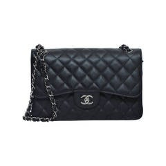 CHANEL  Classic Jumbo Double Flap Black Caviar Leather Handbag NEW