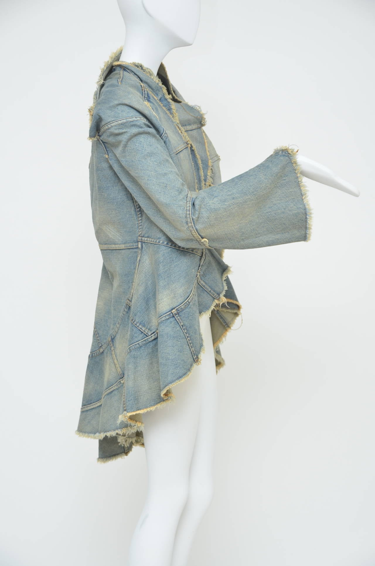 Junya Watanabe Comme Des Garcons Distressed Denim jacket  AD 2001  S 3