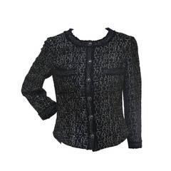CHANEL Little Black Tweed Jacket  '07  Silver COCO RUE CAMBON PARIS CC   New 36