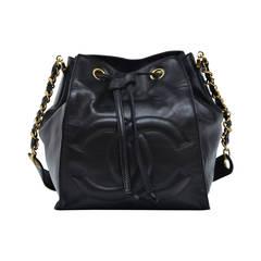 Vintage CHANEL  Black Lambskin Shoulder Handbag  NEW