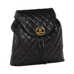 CHANEL Large Lambskin Black Backpack