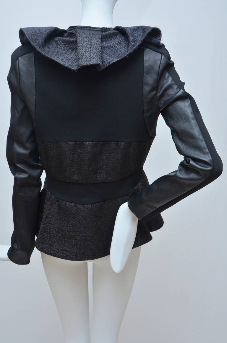 Valentino Leather And Tweed Ruffled Jacket New In New Never_worn Condition For Sale In Hollywood, FL