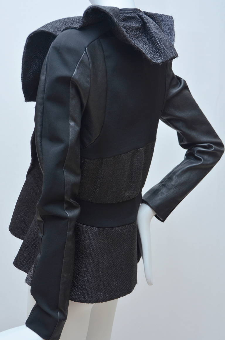 Women's Valentino Leather And Tweed Ruffled Jacket New For Sale
