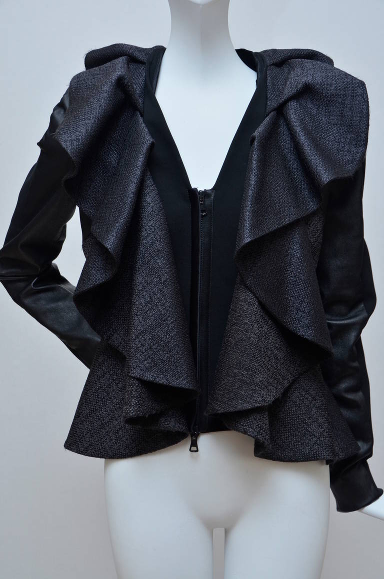 Valentino Leather And Tweed Ruffled Jacket New For Sale 1