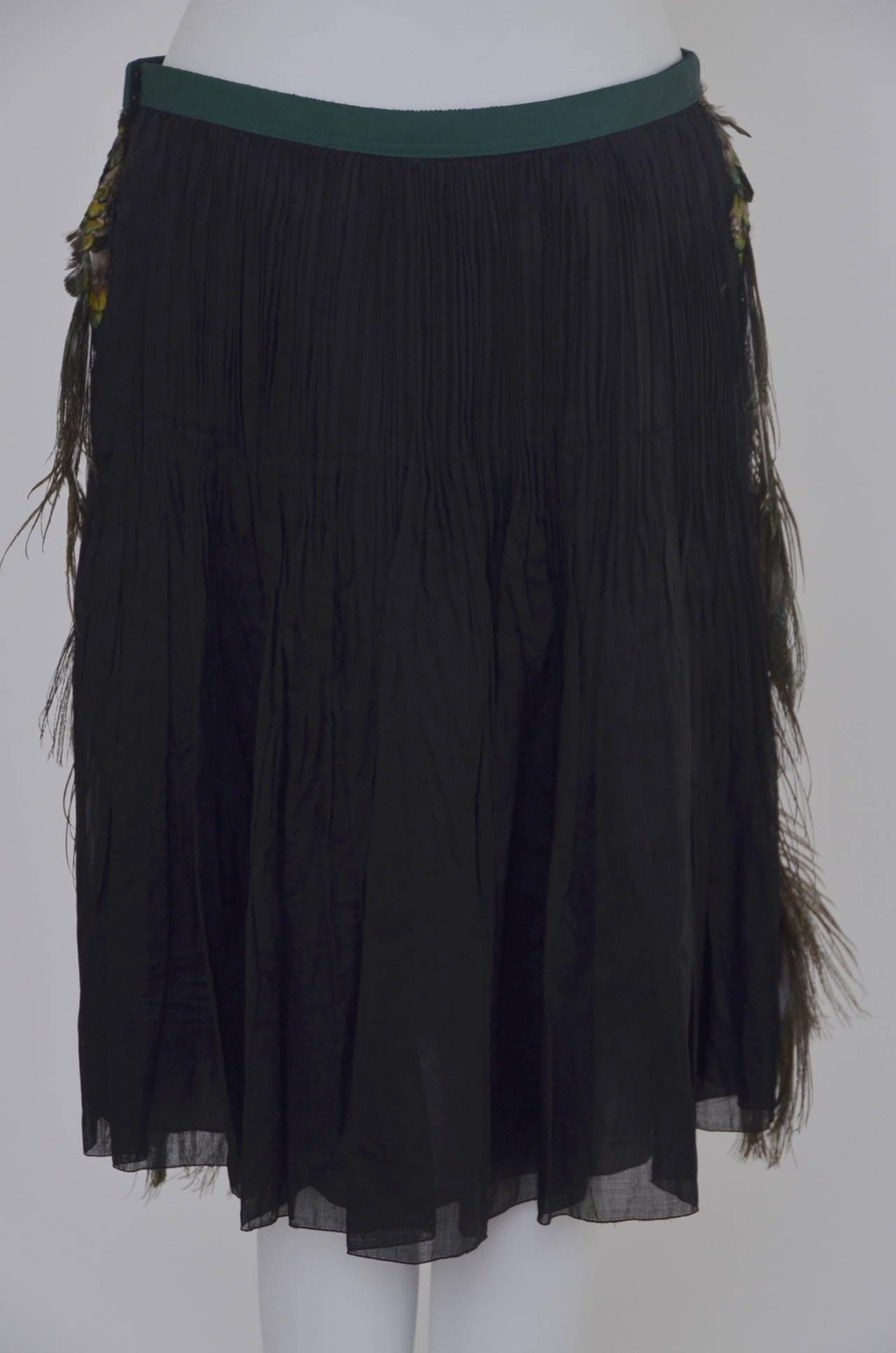 Prada Peacock  Runway Skirt  New 38 3