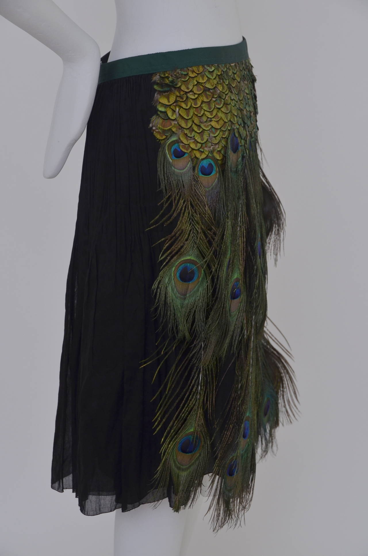Prada Peacock  Runway Skirt  New 38 5