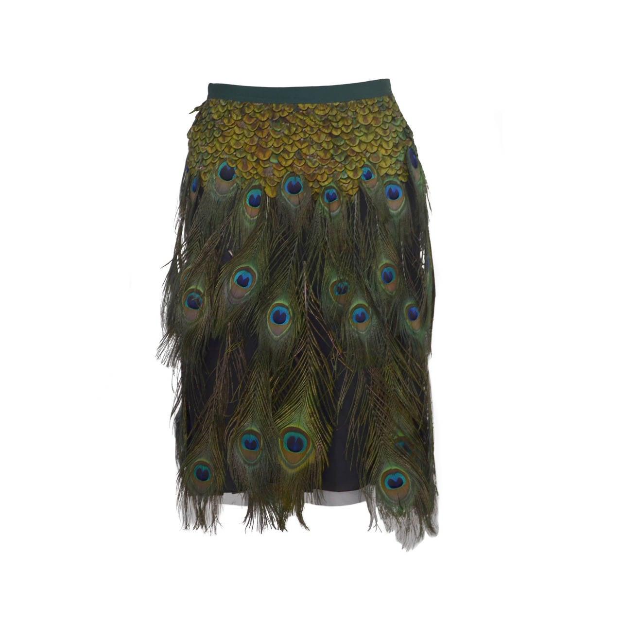 Prada Peacock  Runway Skirt  New 38
