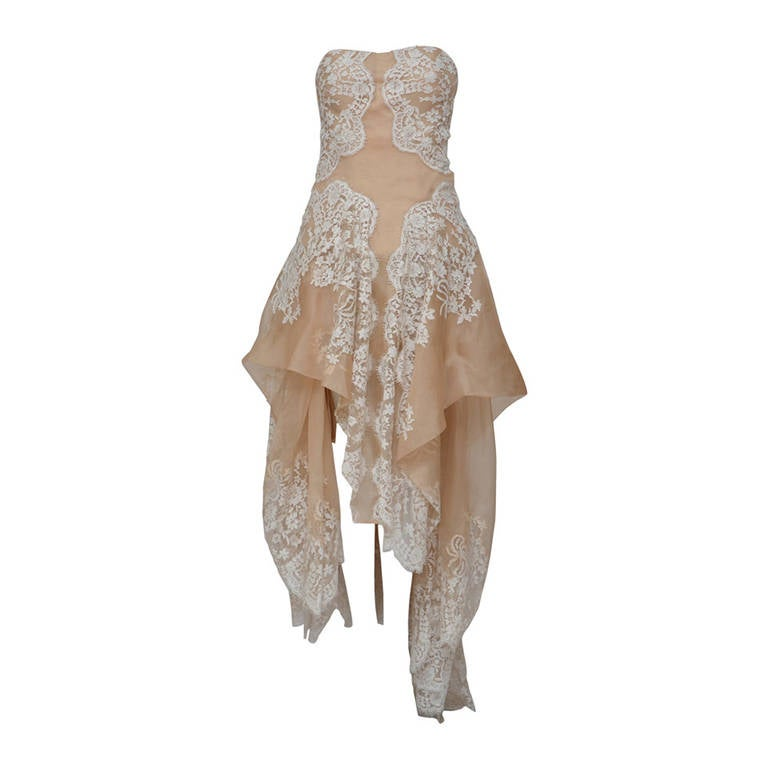Stunning Alexander McQueen Lace and Organza Strapless Gown New 1