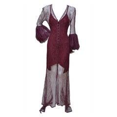 Karl Lagerfeld for Chloe Burgundy Lace Dress  Linda Evangelista Add 94'/95'