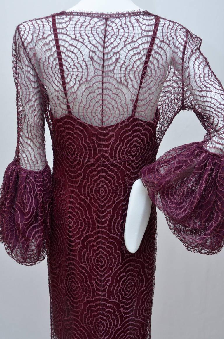 Women's Karl Lagerfeld for Chloe Burgundy Lace Dress  Linda Evangelista Add 94'/95' For Sale