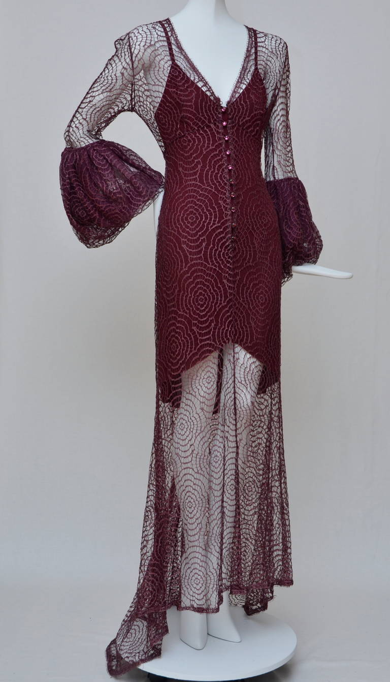Black Karl Lagerfeld for Chloe Burgundy Lace Dress  Linda Evangelista Add 94'/95' For Sale