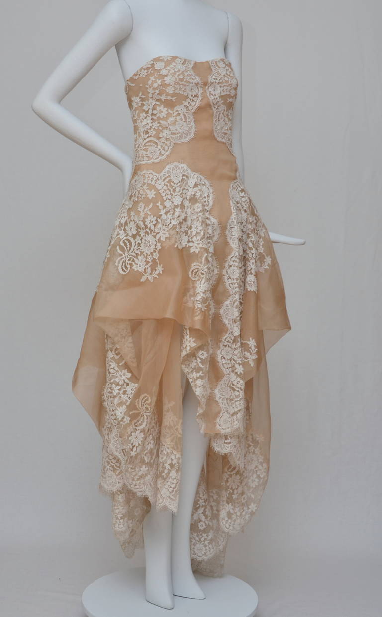 Stunning Alexander McQueen Lace and Organza Strapless Gown New 2