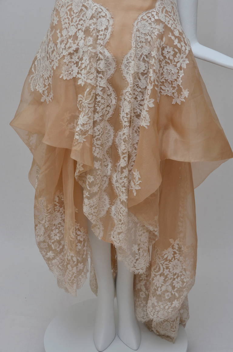 Stunning Alexander McQueen Lace and Organza Strapless Gown New 4